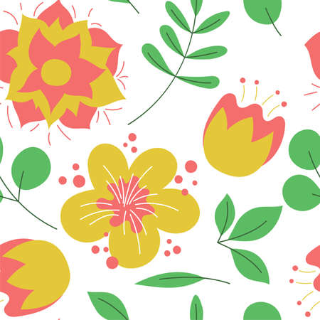 Floral seamless pattern. Vector flowers. Color sketch. Doodle background. Green leaves