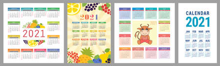 Calendar 2021 year set. Vector pocket calender design template collection. Week starts on Sunday. January, February, March, April, May, June, July, August, September, October, November, December