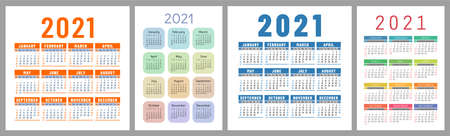 Calendar 2021 year set. Vector template collection. Simple design. Week starts on Sunday. January, February, March, April, May, June, July, August, September, October, November, December 向量圖像