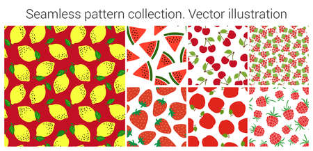 Fruit and berry seamless pattern set. Fashion clothing design. Food print for dress, skirt, linens or curtain. Hand drawn vector sketch background collection