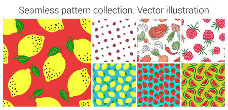 Fruit and vegetable seamless pattern set. Fashion clothing design. Food print for dress, skirt, linens or curtain. Hand drawn vector sketch background collection