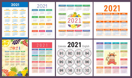Calendar 2021 year set. Vector template collection. Design. Week starts on Sunday. Ox, fruits and berries.