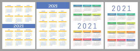Calendar 2021 year set. Vector pocket or wall calender template collection. 向量圖像