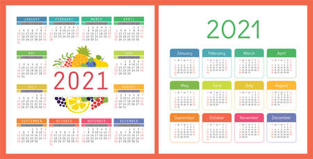Calendar 2021 year set. Vector pocket or wall square calender design template collection.