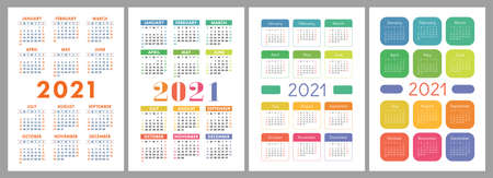 Calendar 2021 year set. Vector pocket or wall calender template collection.