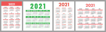 Calendar 2021 year set. Vector template collection. 向量圖像