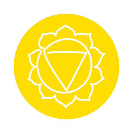 Manipura icon. One line. The third sun chakra. Vector yellow line symbol. Sacral sign. Meditation