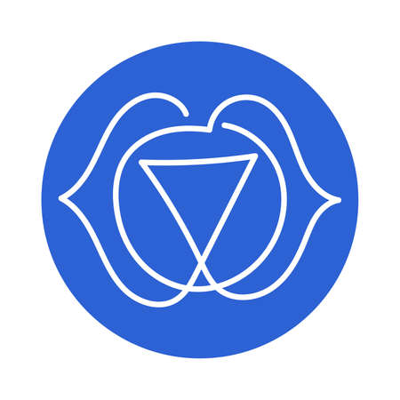 Ajna icon. One line. The sixth frontal chakra. Third eye. Vector indigo blue line symbol. Sacral sign. Meditation