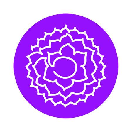 Sahasrara icon. One line. The seventh crown, parietal chakra. Vector purple line symbol. Sacral sign. Meditation Иллюстрация