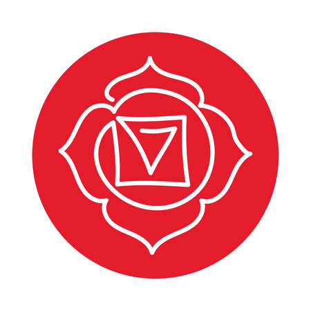 Muladhara icon. One line. The first root chakra. Vector red line symbol. Sacral sign. Meditation