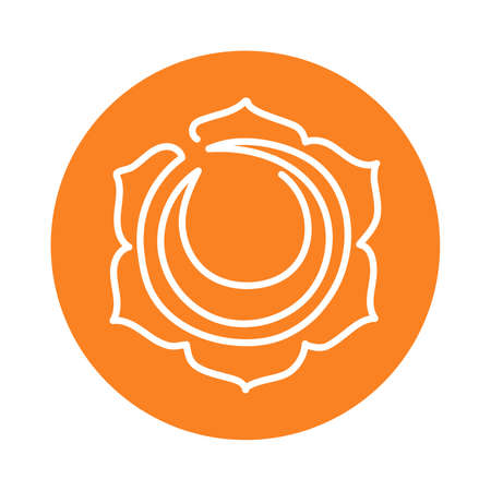 Swadhisthana icon. One line. The second sacral chakra. Vector orange line symbol. Meditation sign Иллюстрация