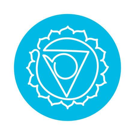 Vishuddha icon. One line. The fifth guttural chakra. Vector blue line symbol. Sacral sign. Meditation Иллюстрация