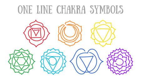 Chakras: muladhara, swadhisthana, manipura, anahata, vishuddha, ajna, sahasrara. Vector line symbol. Om sign. Sacral icon. Meditation