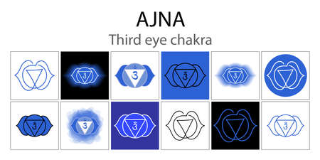 Ajna icon set. The sixth frontal chakra. Third eye. Vector indigo blue gloss and shine. One line symbol collection. Outline sacral sign. Meditation