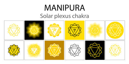 Manipura icon set. The third sun chakra. Vector yellow gloss and shine. One line symbol. Outline sacral sign collection. Meditation