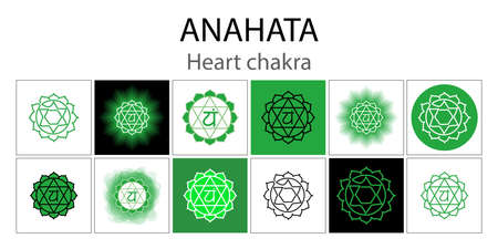 Anahata icon set. The fourth heart chakra. Vector green gloss and shine. One line symbol. Outline sacral sign collection. Meditation