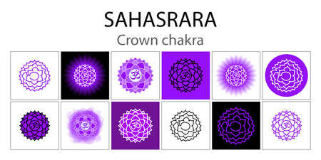 Sahasrara icon set. The seventh crown, parietal chakra. Vector purple gloss and shine. One line symbol. Outline sacral sign. Meditation