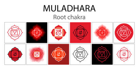 Muladhara icon set. The first root chakra. Vector red gloss and shine. One line symbol. Outline sacral sign collection. Meditation