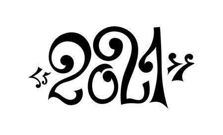 2021 New year. Vector design template. Lettering for sticker. Banner text