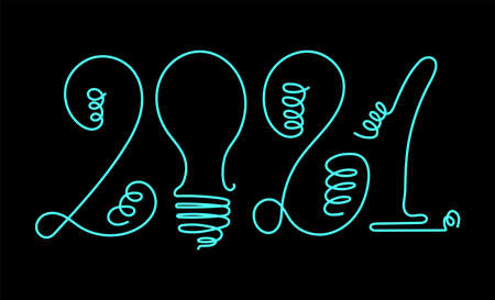 2021 New year. Light bulb. Vector design template. Lettering for sticker. Banner text 向量圖像