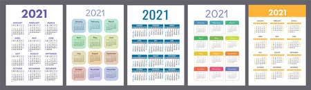 Calendar 2021 year set. Vector pocket or wall calender template collection. Simple design. Week starts on Sunday. January, February, March, April, May, June, July, August, September, October, November, December 向量圖像