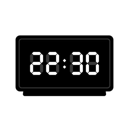 Digital watch. Table clock. Vector illustration. Round classic design. Time in hours and minutes.