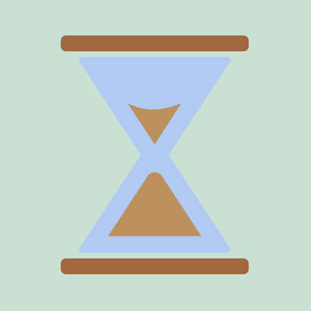 Hourglass. Vector illustration. Classic design. Time in minutes. Sand wooden clock 向量圖像