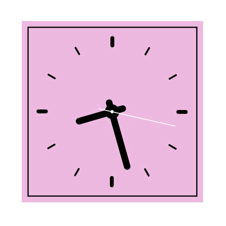 Wall or table square clock. Vector illustration. Classic design. Time in hours and minutes.