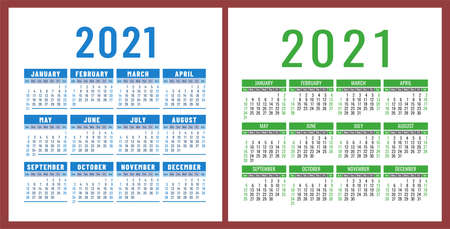Calendar 2021 year set. Vector pocket or wall square calender design template collection. January, February, March, April, May, June, July, August, September, October, November, December 向量圖像
