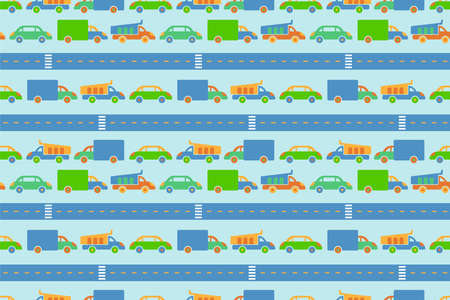 Car road. Play mat for children activity. Seamless pattern. Kid's rug. Hand drawn sketch. Colorful background. Boy texture for textile 向量圖像