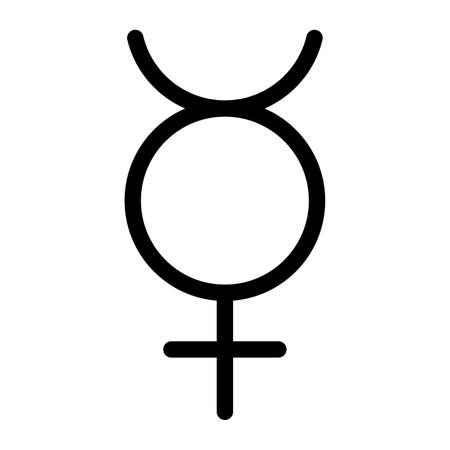 Mercury planet symbol. Vector sign. Astrological calendar. Zodiacal black and white horoscope. Outline illustration. Jyotisha. Hinduism, Indian or Vedic astrology