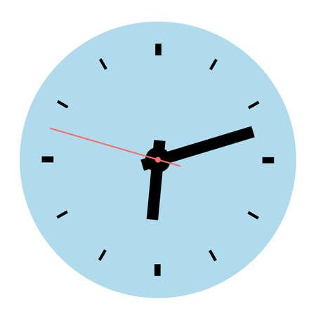 Wall or table clock. Vector illustration. Round classic design. Time in hours and minutes.