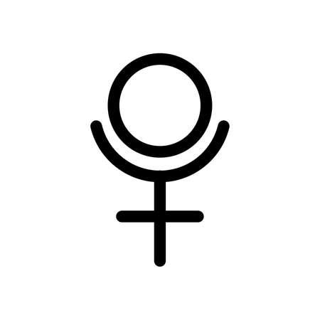 Pluto planet symbol. Vector sign. Astrological calendar. Zodiacal black and white horoscope. Outline illustration. Jyotisha. Hinduism, Indian or Vedic astrology