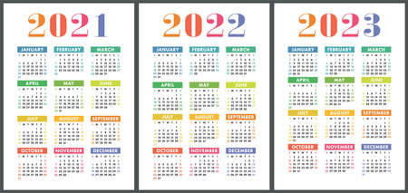Calendar 2021, 2022 and 2023. English colorful vector set. Vertical wall or pocket calender template. Design collection. New year. Week starts on Sunday