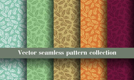 Leaves. Seamless pattern set. Vector leaf. Hand drawn repeating elements. Fashion print. Design for textile or clothes. Natural color background