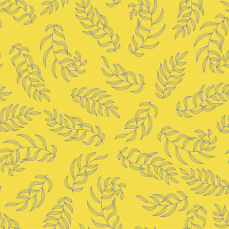 Leaves. Seamless pattern. Vector leaf. Hand drawn repeating elements. Fashion print. Design for textile or clothes. Trendy yellow 2021 background 向量圖像