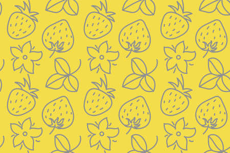 Doodle line strawberry and leaves. Seamless floral pattern. Vector leaf. Fashion dress print. Design for textile or clothes. Flowers sketch. Hand drawn natural yellow and gray background 向量圖像