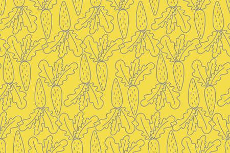 Seamless pattern of carrots in yellow and gray Illustration