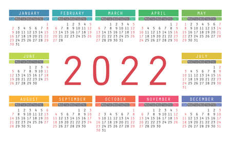 Calendar 2022 year. English colorful vector horizontal wall or pocket calender design template. New year. Week starts on Sunday