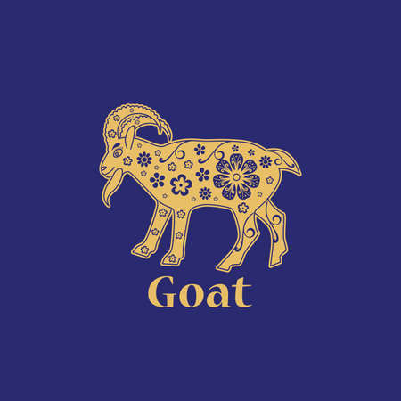 Goat. Chinese horoscope 2027 year. Floral golden ornament. Animal symbol.