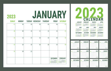 Planner 2023 year. English calendar template. Vector square grid. Office business planning. Creative design. Green color
