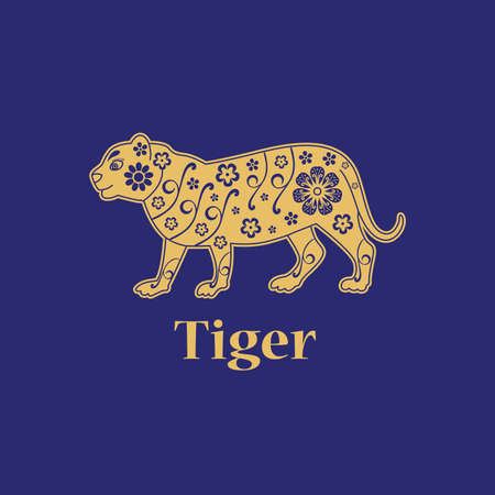 Tiger. Chinese horoscope 2022 year. Floral golden ornament. Animal symbol