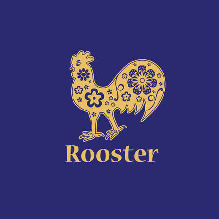 Rooster. Chinese horoscope 2029 year. Floral golden ornament. Animal symbol.