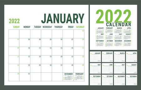 Calendar 2022 year. English planner template. Vector square grid. Office business planning. Creative design. Green color