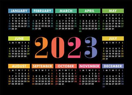 Calendar 2023 year. English colorful vector horizontal wall or pocket calender template. Design. New year. Week starts on Sunday