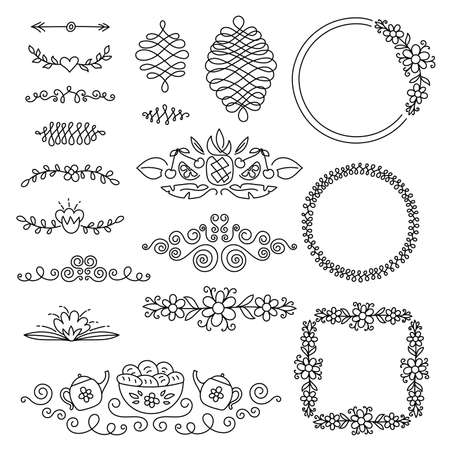 Borders and frames set for invitation or greeting card. Curly ornament with heart, flower, teapot and fruits. Black line vector design Ilustração