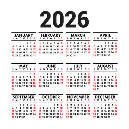 Calendar 2026. English vector square wall or pocket calender design template. New year. Week starts on Sunday. Black, red and white colors Ilustração