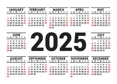 Calendar 2025. English vector horizontal wall or pocket calender template. Black and red design. New year. Week starts on Sunday