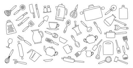 Kitchenware sketch set. Doodle line vector kitchen utensils, tools and cutlery.Kettle, saucepan, cezve, plate, cup and bowl. Whisk, spoon, knife, scissors, ladle and spatula Ilustração