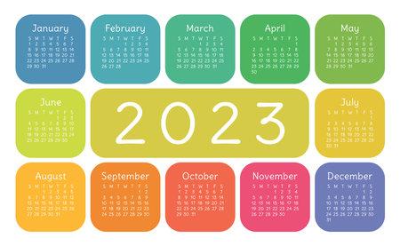 Calendar 2023 year. English colorful vector horizontal wall or pocket calender design template. New year. Week starts on Sunday Ilustração